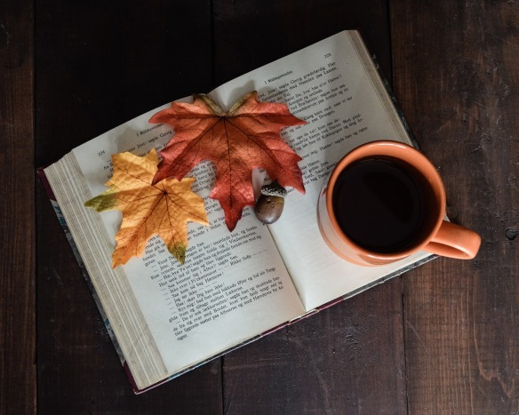 book and fall leaves
