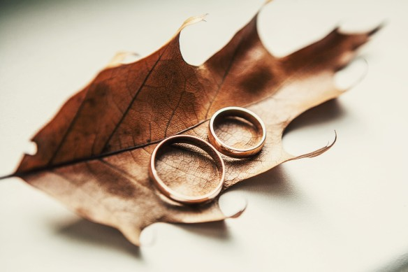 wedding rings with leaves