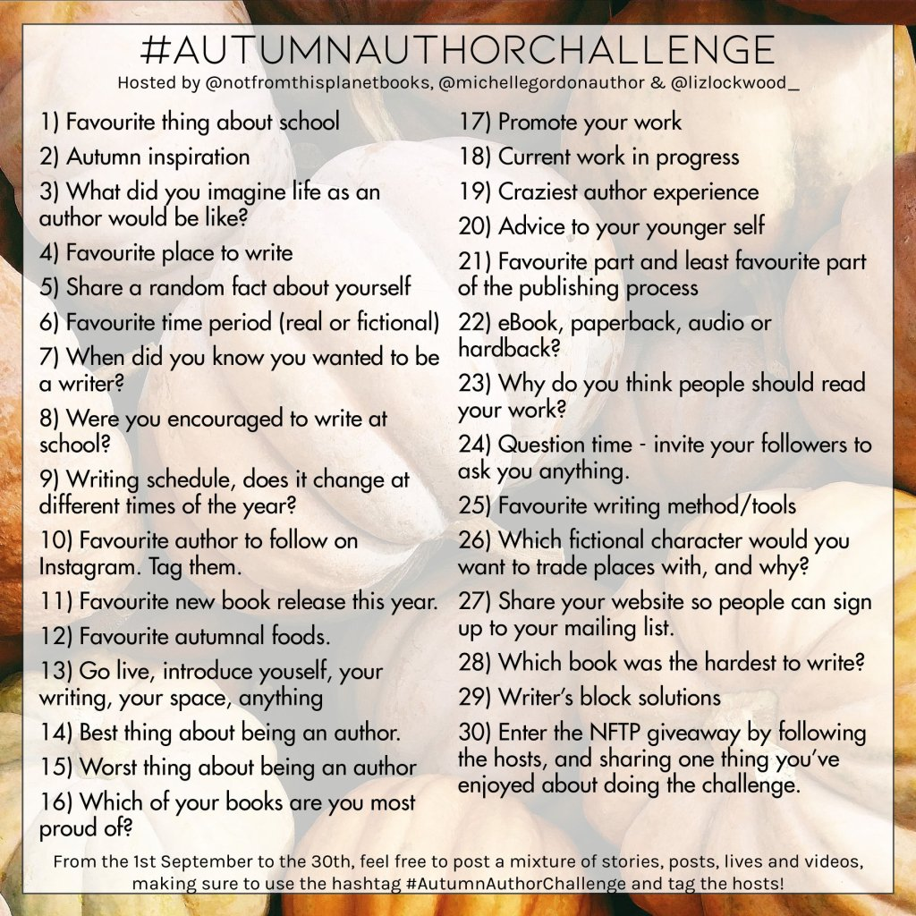 #autumnauthorchallenge daily social media ideas