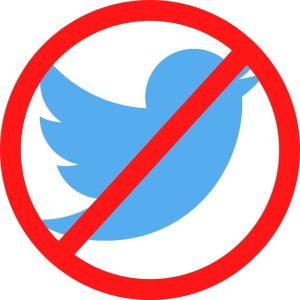 twitter logo bird with a red circle through it. no more twitter