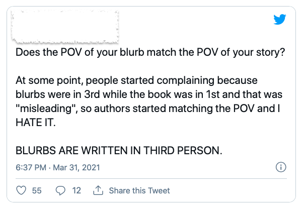"Does the POV of your blurb match the POV of your story?  At some point, people started complaining because blurbs were in 3rd while the book was in 1st and that was ""misleading"", so authors started matching the POV and I HATE IT.  BLURBS ARE WRITTEN IN THIRD PERSON."